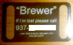 Laser         printed dog tag