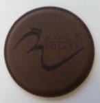 Round stitched leather coaster