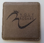 Square stitched leather coaster